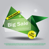 Green geometric background with paper and transparent glass details. Business backdrop good for sale, flyer, special offer poster Royalty Free Stock Images