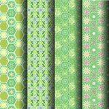 Green geometric patterns. Sets Green geometric patterns can be used endlessly Royalty Free Stock Photo