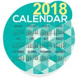 2018 Green Geometric Round Shape Printable Calendar Starts Sunday Royalty Free Stock Images