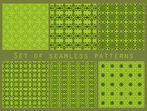 Green geometric seamless patterns set.  Vector Royalty Free Stock Photo