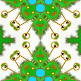 Green germ abstract repeating pattern. A seamless pattern with a green germ with cartoon eyes Royalty Free Stock Photo