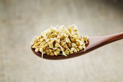 Green germinated buckwheat on a wooden brown spoon. Raw buckwheat. Useful food from buckwheat sprouts for vegetarian food. Green germinated buckwheat on a wooden stock photo