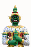 Green giant guard statue at the buddhist temple in Thailand, isolated on white background. Stock Photo