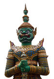 Green Giant guardian on white background. Green Giant guardian of Arun Temple on white background stock photography