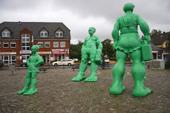 Green Giants Sylt. AUGUST 2011 - WESTERLAND: the Green Giants at the Bahnhofsplatz in Westerland, Sylt, Germany Royalty Free Stock Photography