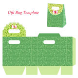Green gift bag template with floral pattern Stock Photo