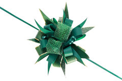 Green gift bow on white background Royalty Free Stock Photo
