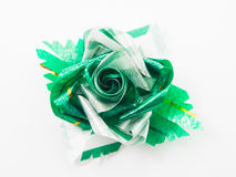 Green gift bows with ribbon Stock Images