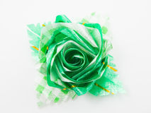 Green gift bows with ribbon Royalty Free Stock Photos