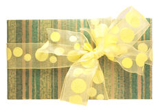 Green gift box. With yellow bow on white background Royalty Free Stock Photography
