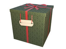 Green gift box. With baroque paper and red bow, isolated on white Stock Photos
