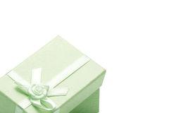 Green gift box. Isolated on white background Royalty Free Stock Image