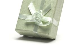 Green gift box. Isolated on white background Royalty Free Stock Photo