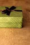 Green Gift Box. With Brown Ribbon Royalty Free Stock Photography