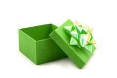 Green Gift Box with Big Ribbon Royalty Free Stock Photography
