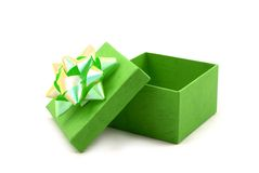 Green Gift Box with Big Ribbon Stock Photos