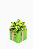 Green gift box with a bow. For Christmas or Valentines Day Stock Photography