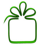 Green gift box frame, 3d Stock Photo