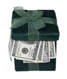Green Gift Box Full of Money. In the form of many large bills - path included Royalty Free Stock Photo
