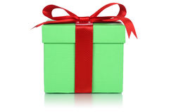 Green gift box for gifts on Christmas, birthday or Valentines da Royalty Free Stock Photos
