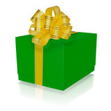 Green gift box with gold ribbon Stock Photography