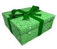 Green gift box - green ribbon Royalty Free Stock Photo