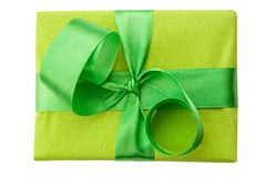 Green Gift Box with green Satin Ribbon Stock Photo