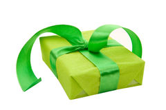Green Gift Box with green Satin Ribbon Stock Images