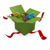 Green gift box. Green open gift box with 2014 Royalty Free Stock Image