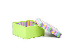 Green gift box with opened striped cover Stock Images