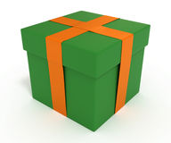 Green gift box with orange ribbon, clipping path. Green gift box with orange ribbon, isolated on whtie, with clipping path, 3d illustration Royalty Free Stock Photos