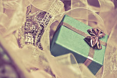 Green Gift Box and Pink Ribbons Royalty Free Stock Images