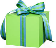 Green Gift Box Present With Blue & Green Ribbon Royalty Free Stock Photography