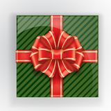 Green gift box with a red bow top view. Vector realistic object. Christmas colors. Elements of Christmas decorations for your design. Isolated object. Red bow Stock Image
