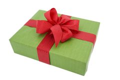 Green gift box with red ribbon. On white background Royalty Free Stock Images