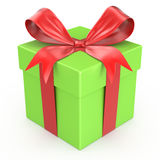 Green gift box with red ribbon bow Stock Photography