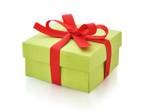 Green gift box Royalty Free Stock Photos