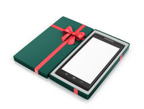 Green Gift Box with red ribbon Stock Images