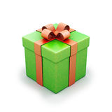 Green gift box with red ribbon Stock Photography