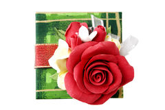 Green gift box with red rose Royalty Free Stock Image