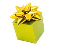 Green gift box with ribbon Royalty Free Stock Photos
