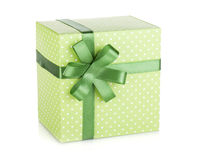 Green gift box with ribbon and bow Royalty Free Stock Photo