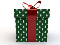 Green Gift box with ribbon bow 3d illustration rendering Royalty Free Stock Photos