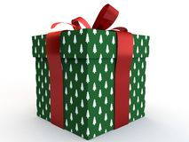 Green Gift box with ribbon bow 3d illustration rendering Royalty Free Stock Images