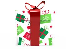 Green Gift box with ribbon bow 3d illustration rendering Royalty Free Stock Image