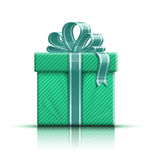 Green gift box with ribbon Royalty Free Stock Photo