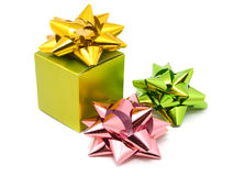 Green gift box with ribbons Stock Image