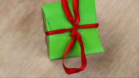 Green gift box stock video footage