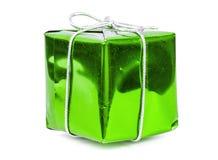 Green gift box with silver ribbon Stock Photos