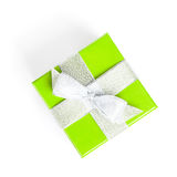 Green gift box with silver ribbon Royalty Free Stock Image